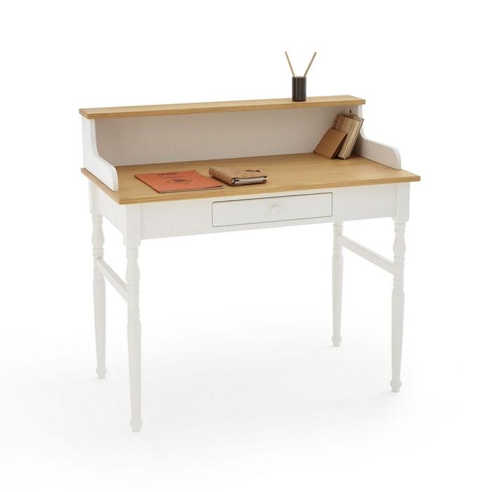bureau pin massif avec r hausse alvina blanc bois la. Black Bedroom Furniture Sets. Home Design Ideas