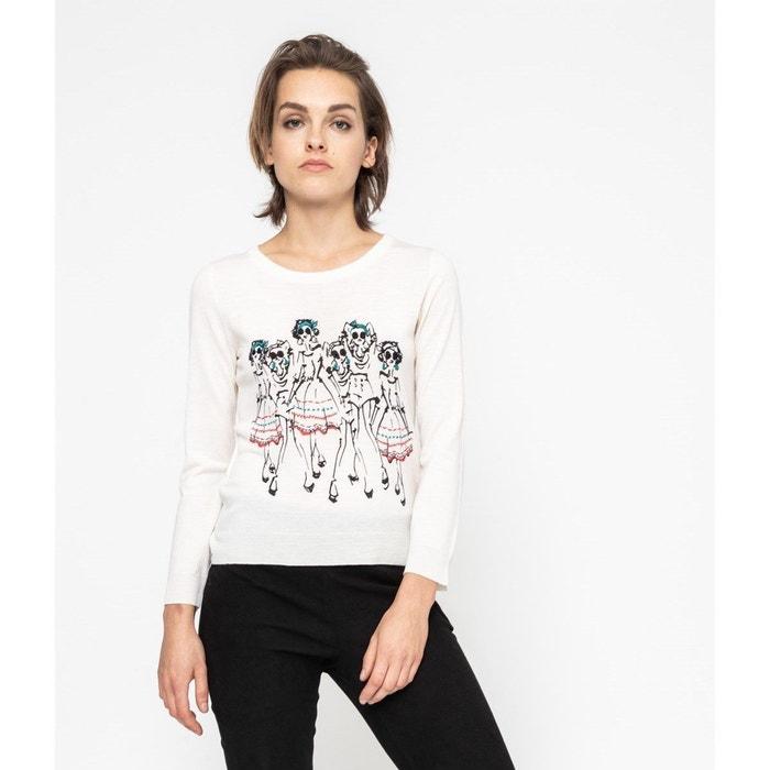 Imprimé Ladies Devernois Laine Pull Blanc Redoute La Vintage HUE1Exw