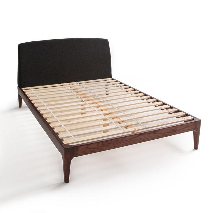 lit avec sommier et t te de lit agura gris fonc noyer la redoute interieurs la redoute. Black Bedroom Furniture Sets. Home Design Ideas