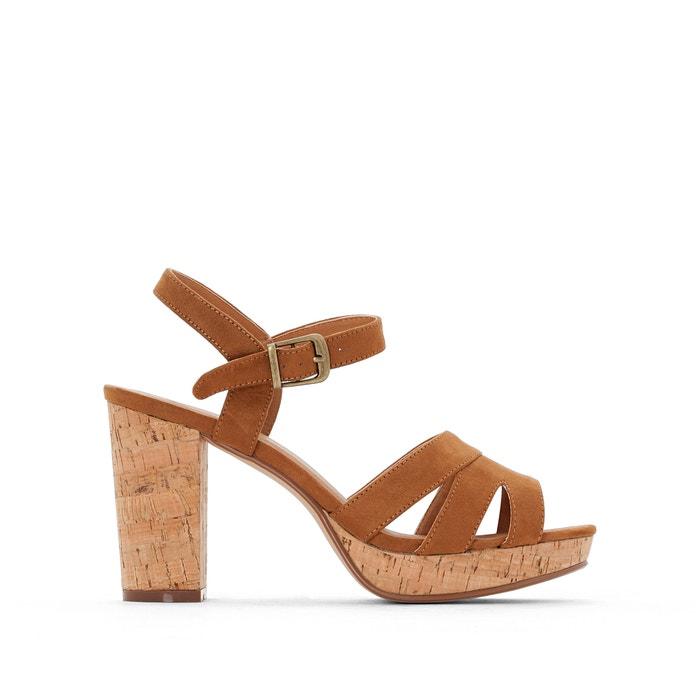 Wide Fit Sandals with Cork-Effect Heels, Sizes 5-10  CASTALUNA image 0