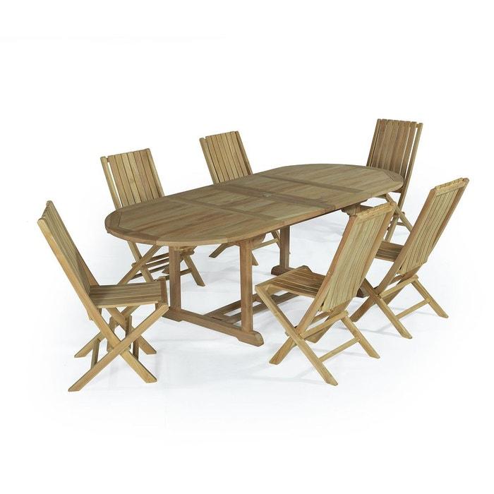 Salon de jardin en teck ecograde toga, table extensible avec 6 ...
