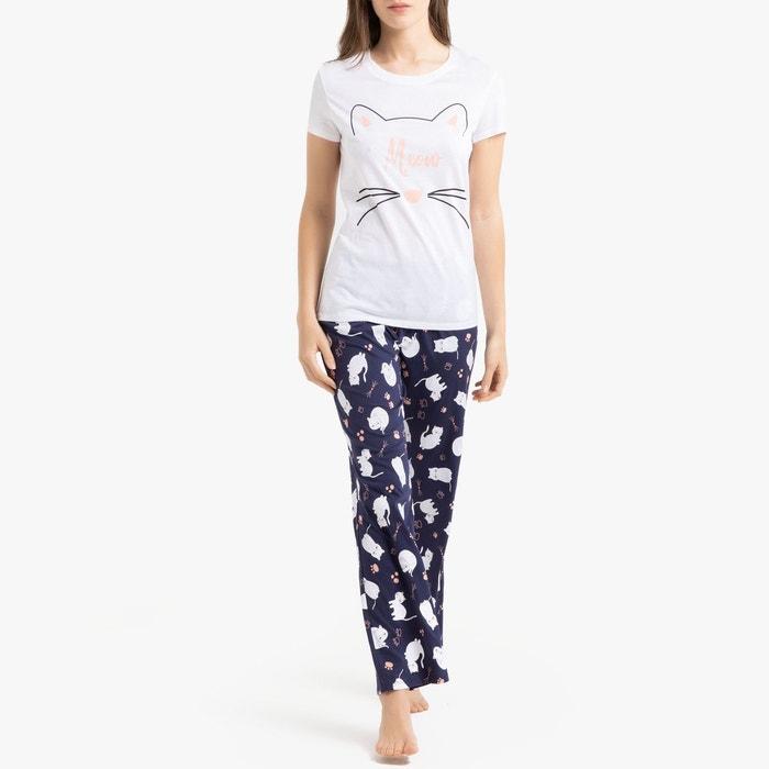 a65c5492e97cd Pyjama imprimé manches courtes blanc imprimé La Redoute Collections | La  Redoute