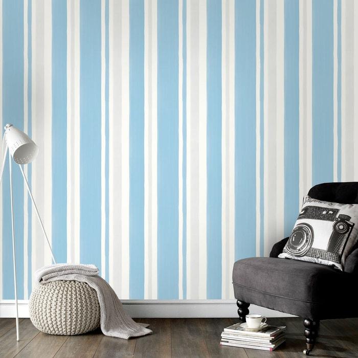 Superfresco Easy Papier Peint Intisse Rayures Bleu Gris 10 M X 52 Cm
