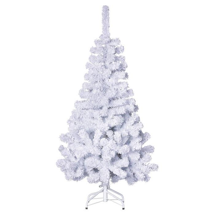 sapin de no l artificiel 100 floqu h 150 cm blanc blanc roi des pins la redoute. Black Bedroom Furniture Sets. Home Design Ideas