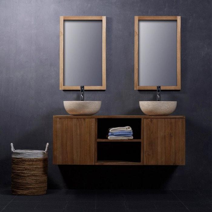 Meuble de salle de bain en bois de teck 135 teck brut Bois Dessus