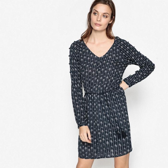 Printed Dress with Tassel Belt  LE TEMPS DES CERISES image 0