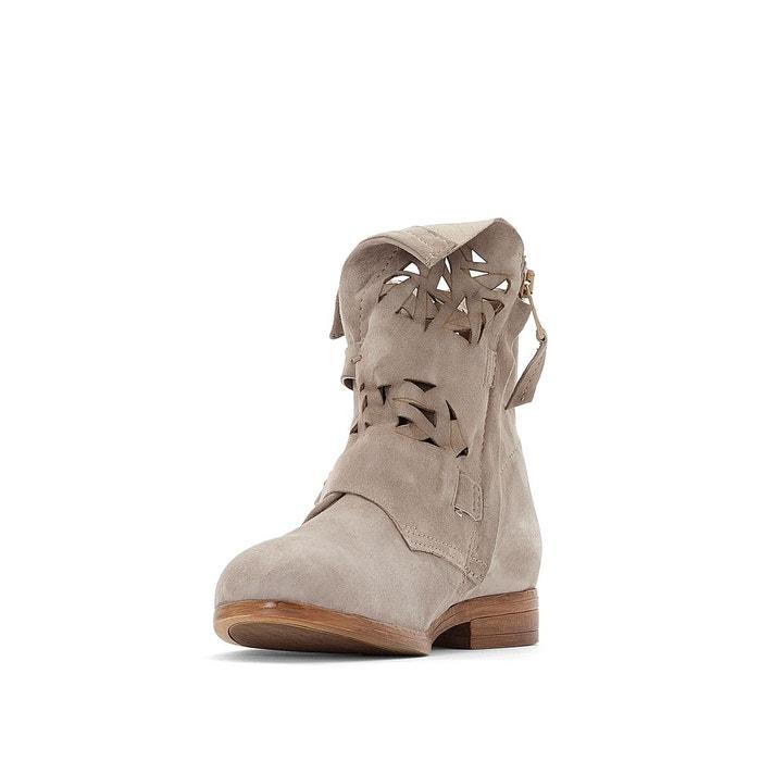 Boots plates zippées cuir nicole   gris Mjus   La Redoute