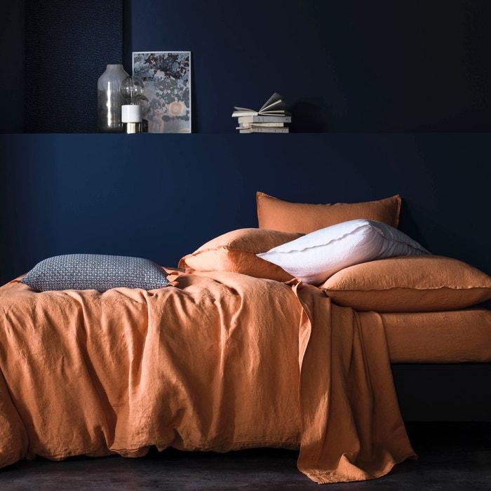 housse de couette lin lav uni couleur ocre orange ocre orange blanc cerise la redoute. Black Bedroom Furniture Sets. Home Design Ideas
