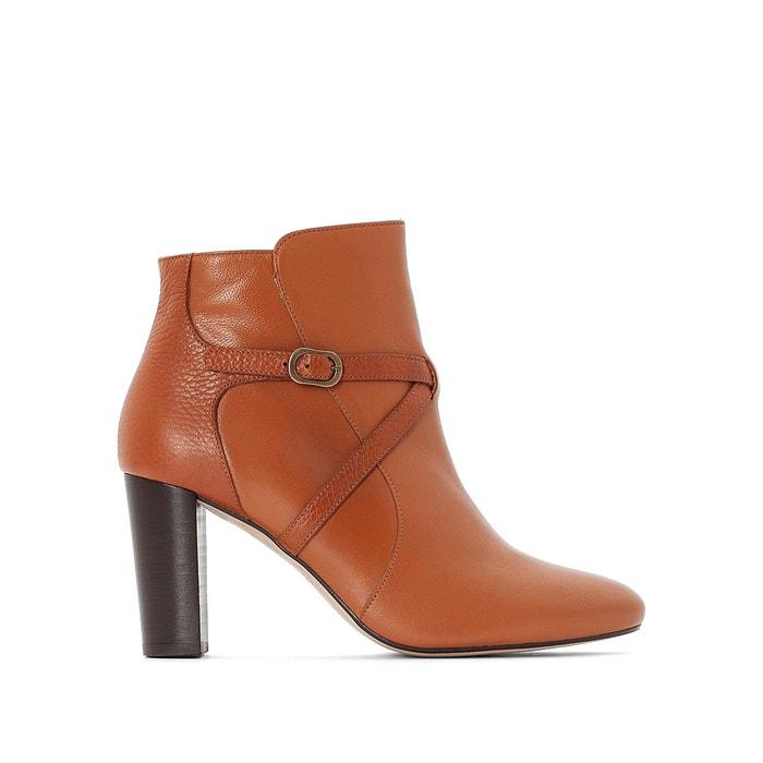 f50932ae0754 Boots en cuir à bride boucle dorée premium La Redoute Collections ...