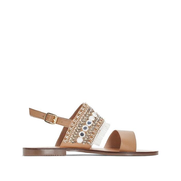 Sandales cuir détail franges La Redoute Collections