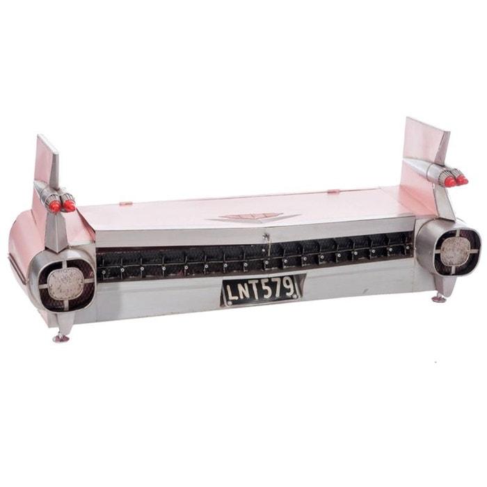 Malle coffre de voiture US en métal rose 143 cm JOLIPA