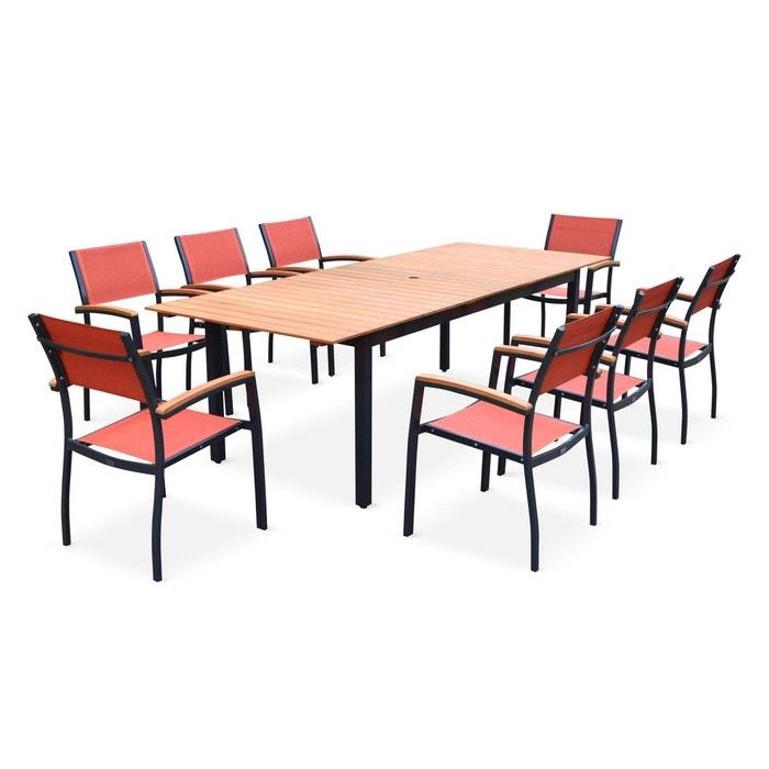 Salon de jardin en bois et aluminium Sevilla, grande table 200-250cm avec  allonge papillon, textilène