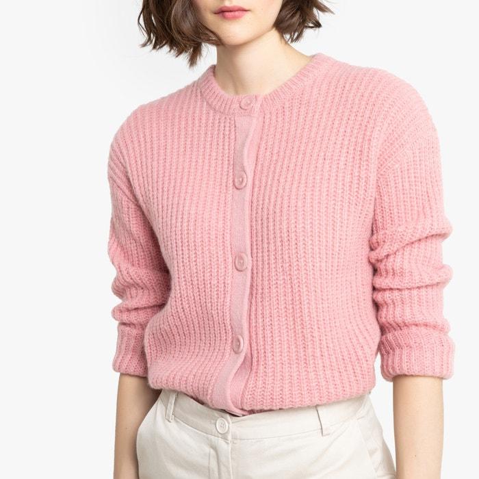Gebreid vest met ronde hals en knoopsluiting, grof tricot  LA REDOUTE COLLECTIONS image 0