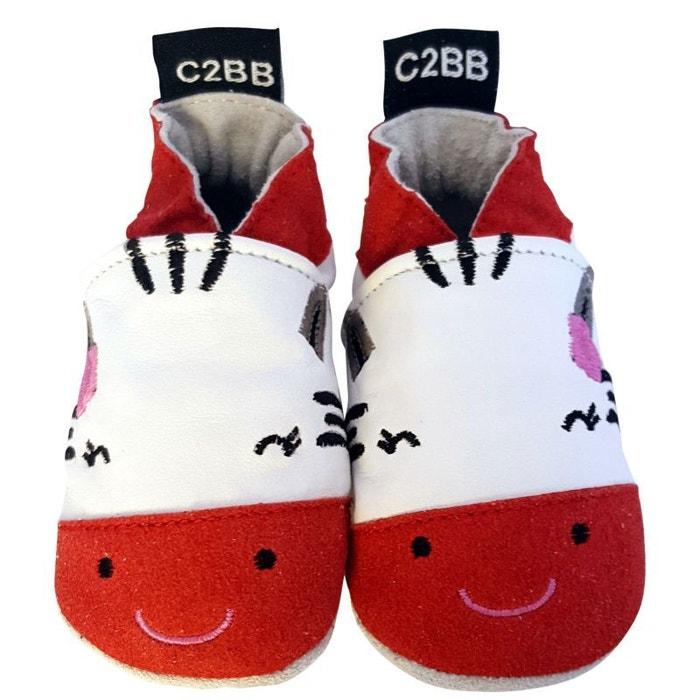 C2BB - Chaussons bébé en cuir souple brodé 53w5hpYc