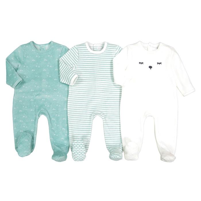974b8a1d70 Confezione da 3 pigiami in velluto 0 mesi-3 anni rigato + écru + blu La  Redoute Collections | La Redoute