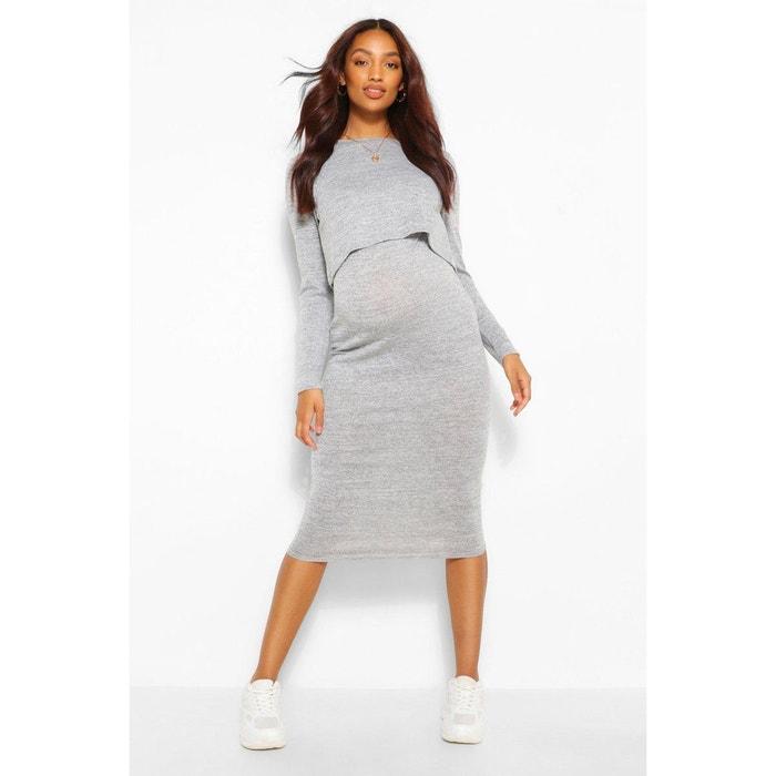 Robe Pull De Grossesse Longueur Genou Col Rond Manches Longues Boohoo Maternity La Redoute