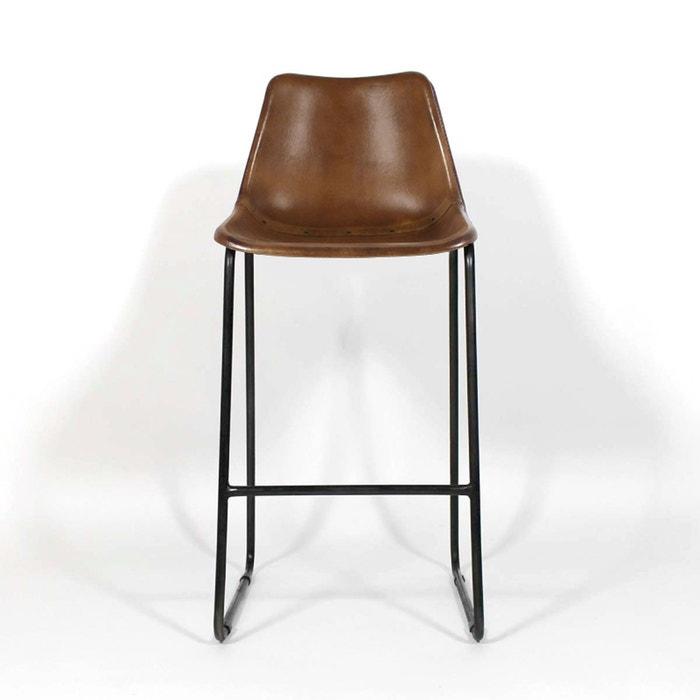chaise de bar industrielle cuir et metal dublin s16bar. Black Bedroom Furniture Sets. Home Design Ideas
