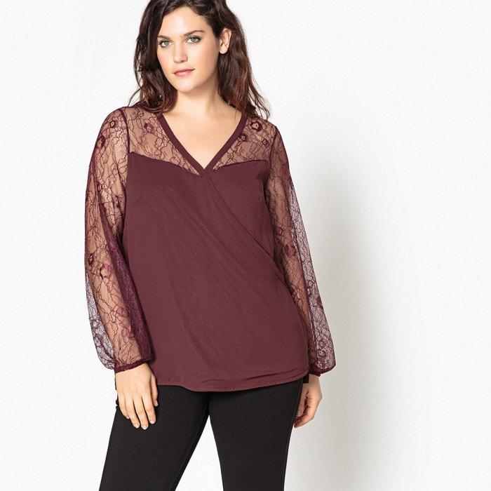 Blusa lisa com decote em V, mangas compridas em renda  CASTALUNA image 0