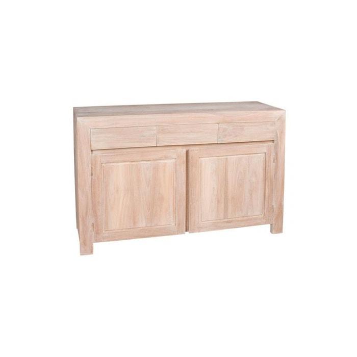 buffet bas 2 portes 3 tiroirs moderne teck blanchi 120cm diane bois blanchi pier import la redoute. Black Bedroom Furniture Sets. Home Design Ideas