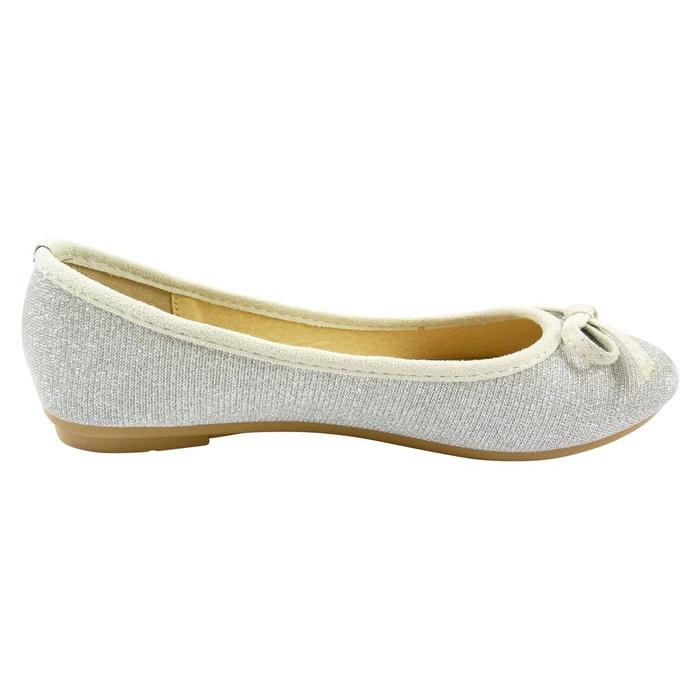 69e9773df3e7f Ballerines en toile et brillante à noeud chaussure femme bout rond ...