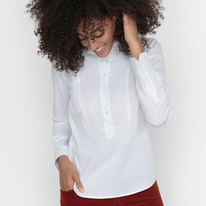 Imagen de Camisa lisa con cuello mao, popelina stretch R essentiel