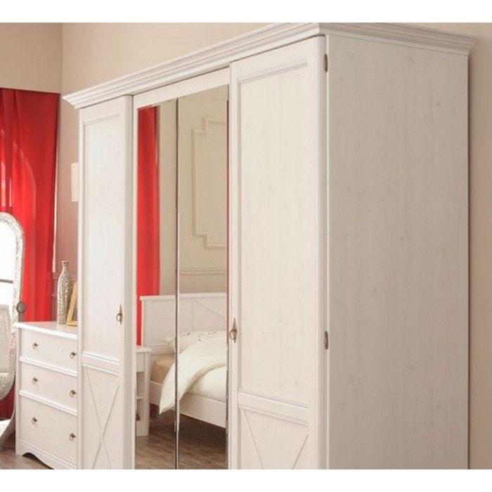 Armoire 4 portes pin memphis largeur 194 cm ar1003 blanc Terre De ...