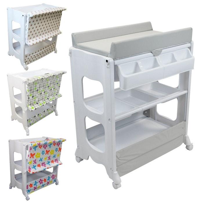 table langer avec baignoire et rangements gris gris monsieur bebe la redoute. Black Bedroom Furniture Sets. Home Design Ideas