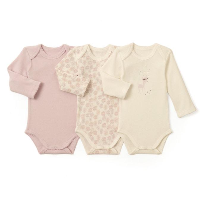 Image Confezione da 3 body a maniche lunghe in cotone 0 mesi - 3 anni La Redoute Collections