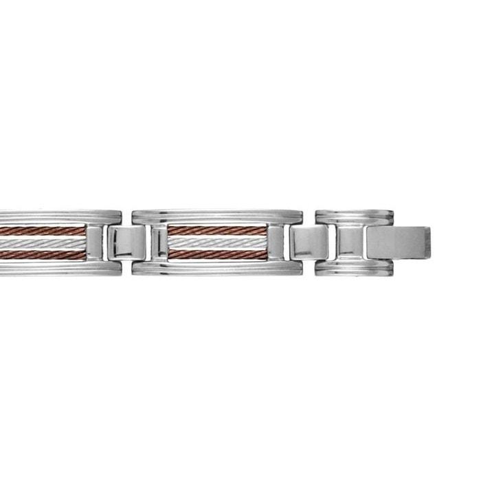 Moins De 50 Dollars Bracelet homme longueur réglable: 22 à 23 cm maillons 3 câbles marron acier inoxydable couleur unique So Chic Bijoux | La Redoute Prix de Vente Le Plus Bas Vente Site Officiel Jvd5X