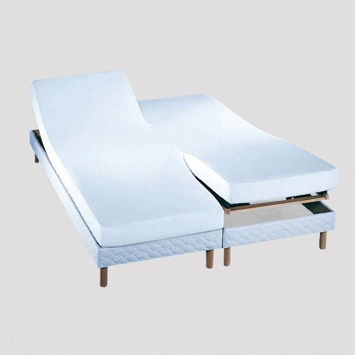 drap housse double tpr prot ge matelas molleton blanc coton 220gr m blanc essix la redoute. Black Bedroom Furniture Sets. Home Design Ideas