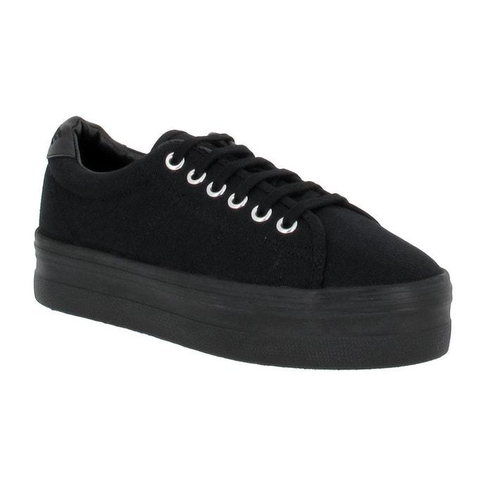 Compensées femme no name plato sneaker toile femme noir noir No Name