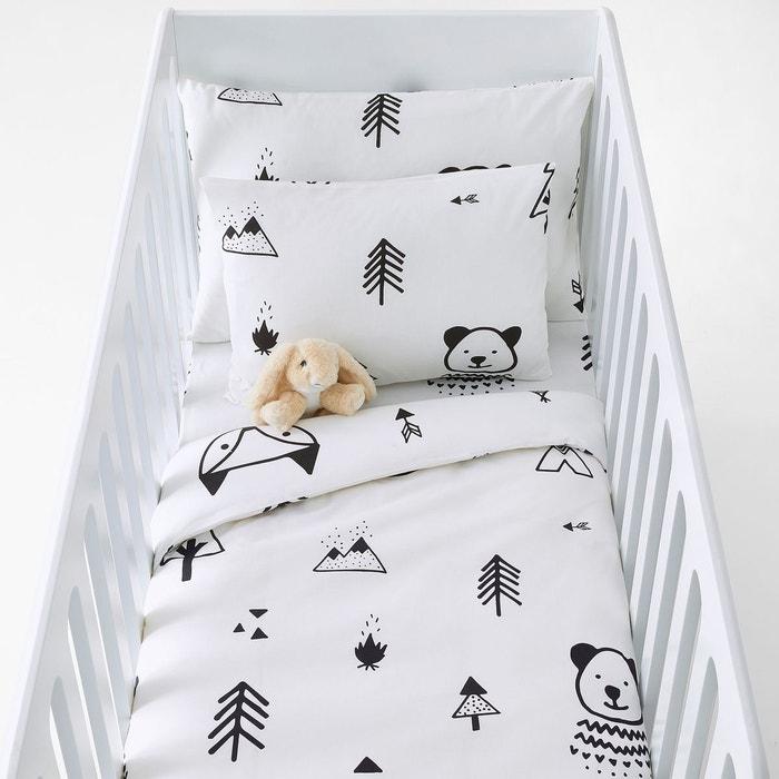 Housse de couette bébé forest camp noir/blanc