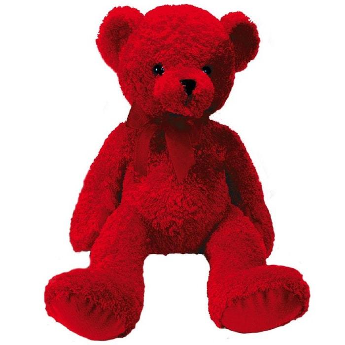grand ours en peluche rouge couleur unique enesco la redoute. Black Bedroom Furniture Sets. Home Design Ideas