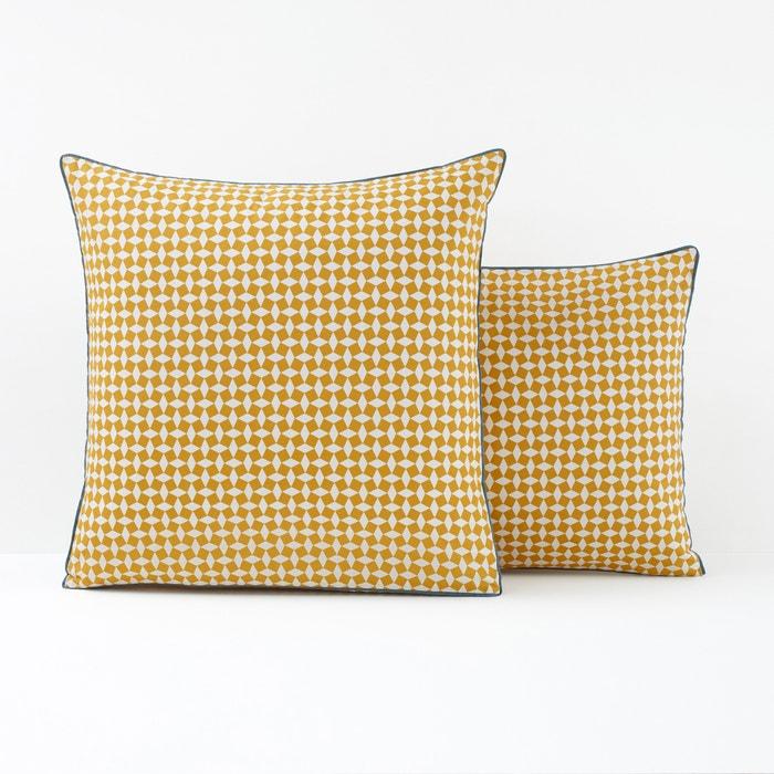 afbeelding Kussensloop Cravate in perkal katoen, geel La Redoute Interieurs