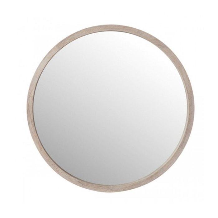Miroir rond en bois blanchi diam tre 45cm bois wadiga for Miroir 3 pans