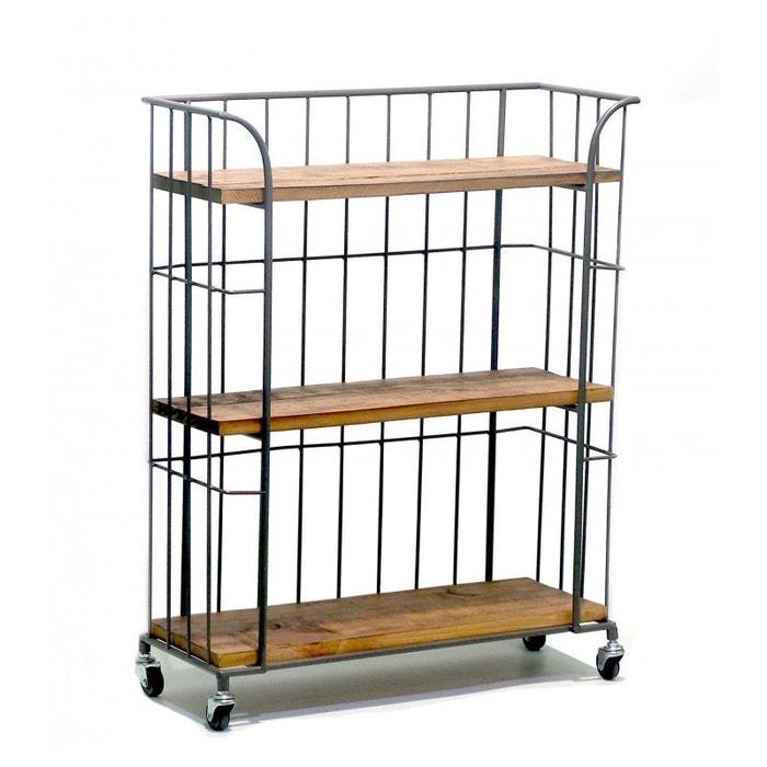tag re de rangement sur roulettes en bois et m tal gris. Black Bedroom Furniture Sets. Home Design Ideas