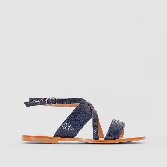 Image Skórzane sandały na płaskim obcasie, z imitacja skóry węża atelier R