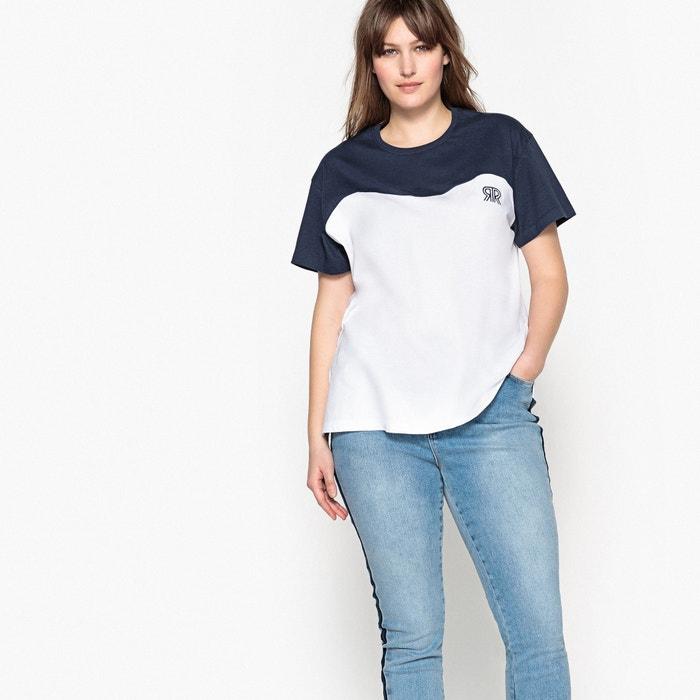 corta redondo Camiseta de bicolor con CASTALUNA manga cuello q7wAI0O0