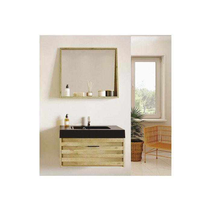 Meuble de salle de bain bois massif - plan noir mat - ensemble benoa ...