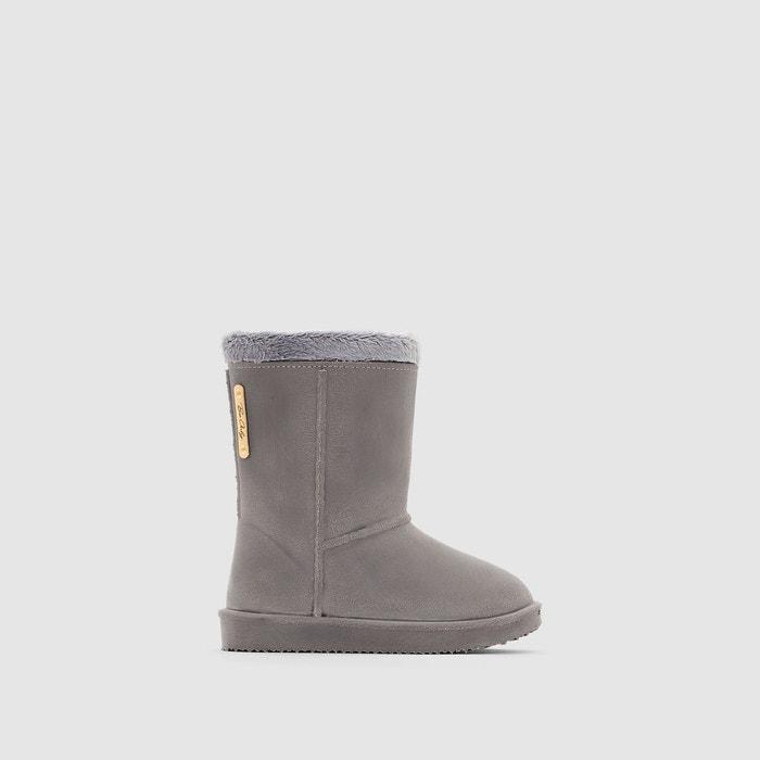 94eea9b334bb0 Boots fourrées imperméable cosy gris Be Only   La Redoute