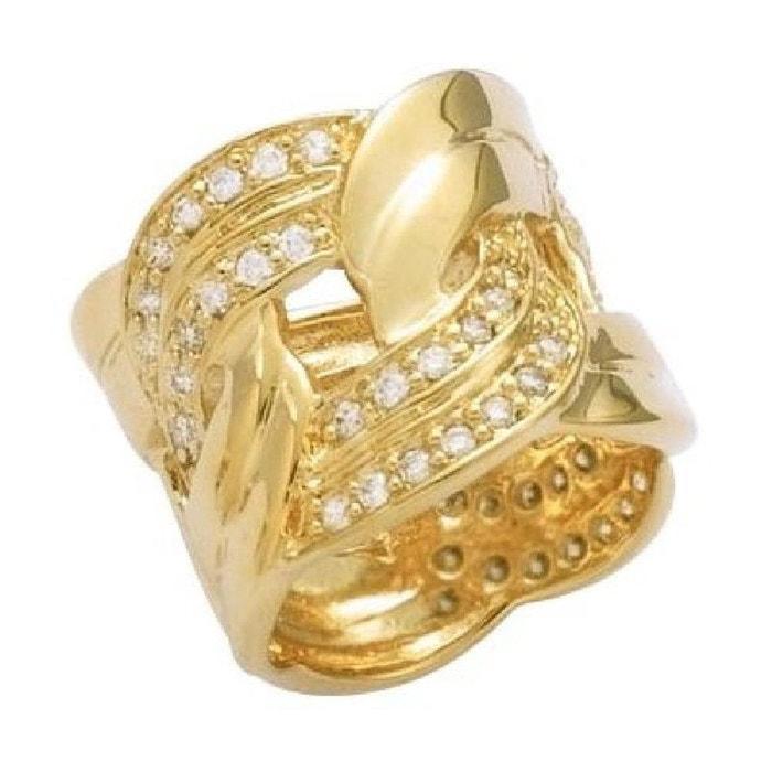 Bague anneau boucle luxe oxyde de zirconium plaqué or 750 couleur unique So Chic Bijoux | La Redoute Vente Pas Cher En Ligne NBWD9