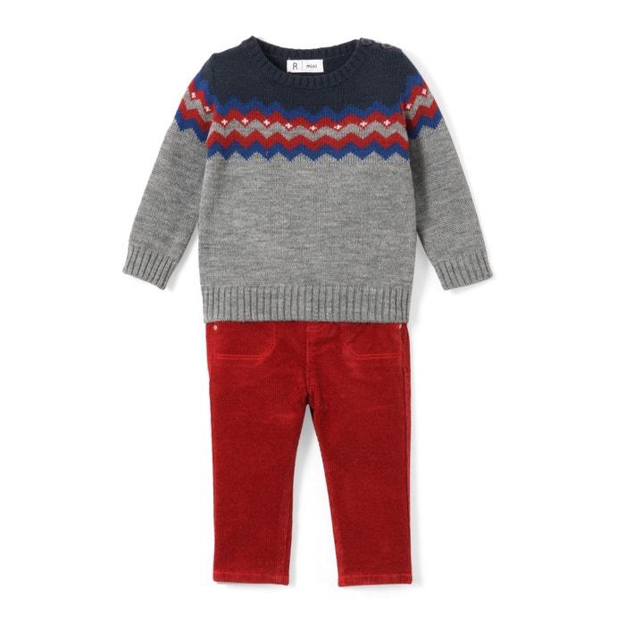 Completo 2 pezzi pull e pantaloni da 1 mese a 3 anni  La Redoute Collections image 0