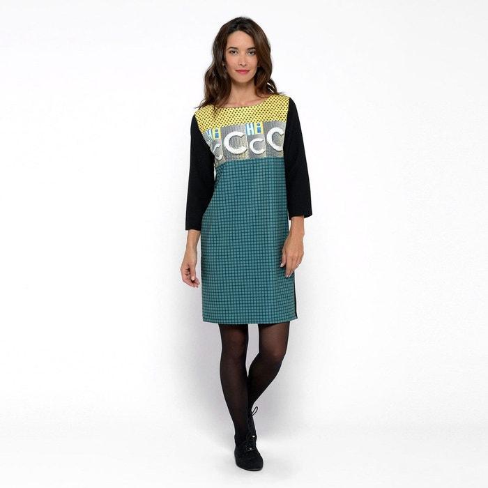 Robe droite noir et vert imprime chic jaune Made In Sens   La Redoute b22f59e03863