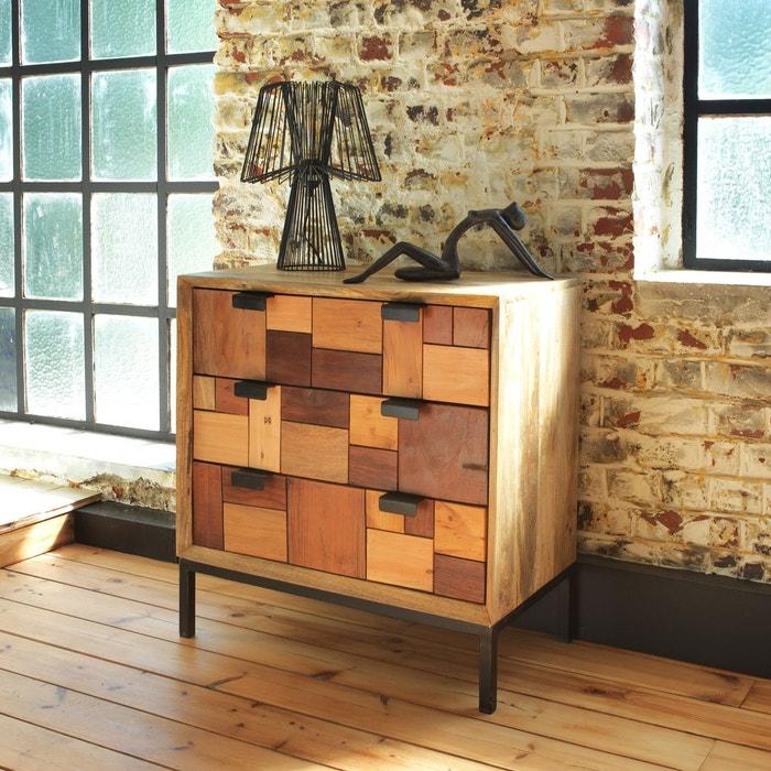 Commode multi carreaux relief 3 tiroirs mq3 en soldes for Soldes la redoute meubles