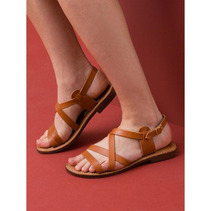 Sandales plates cuir de vachette à lanières, lodna Somewhere