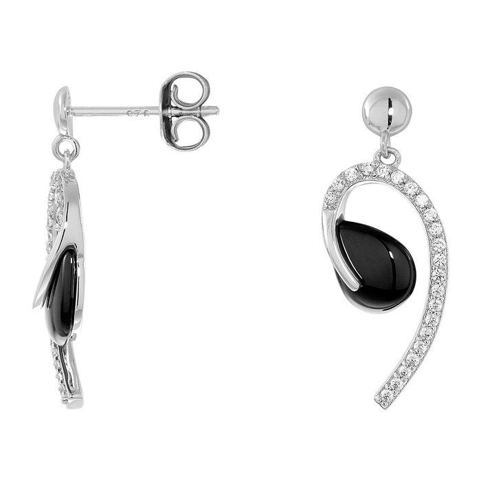 Boucles d'oreilles en argent 925/1000 et céramique blanc Cleor | La Redoute Collections De Dédouanement NSwSbDMNn