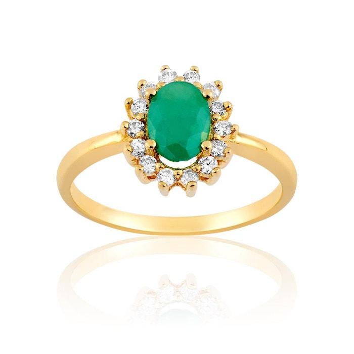 Bague en or 750/1000 jaune, emeraude verte et diamant vert Cleor | La Redoute