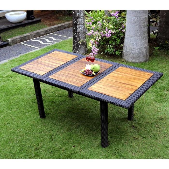 Table de jardin en teck et résine tressée - rectangle à rallonge 120-180 cm