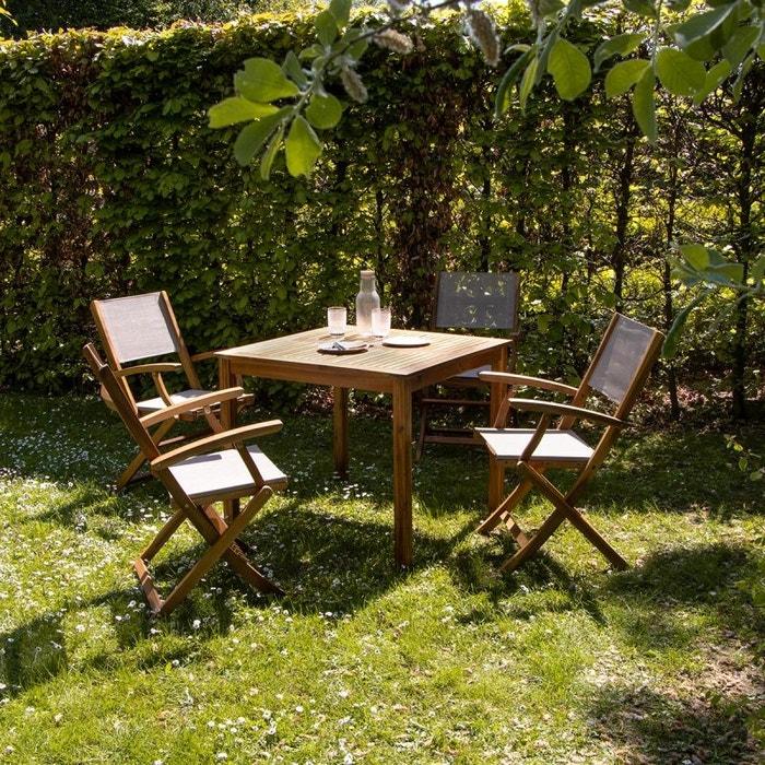 Salon de jardin carré en bois d\'acacia FSC gris 4 places