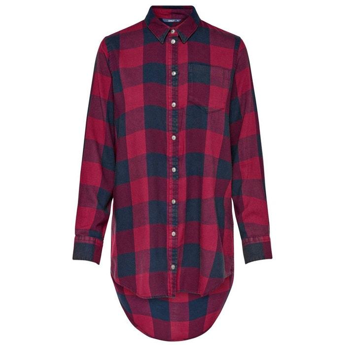 Chemise only carreaux noir rouge la redoute - Reduction prix rouge la redoute ...